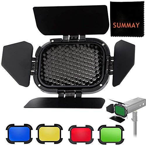 Godox BD-07 Barn Door with Detachable Honeycomb Grid and 4 Color Filters Dedicated for Godox AD200 AD200pro Outdoor Flash