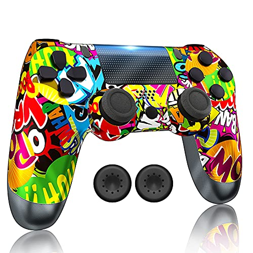 RIIKUNTEK Wireless Controller Compatible with PS 4/Pro Console/Slim/PC/Android/IOS 13 with Dual Vibration, Touch Pad, Bluetooth, Stereo Headset Jack, Six Axis Motion Control, Rechargeable (Upgrade)