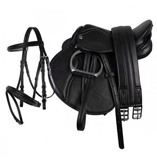 "QHP Pony Sattel-Set Leder Sattel 13\"" Sattelgurt Steigbügel + kombinierte Trense (schwarz)"