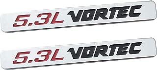 Yuauto 2 Pack 5.3L Vortec Hood 5.3L Emblems Engine Badge 3D Replacement for Silverado Z71 GMC Sierra (Chrome)