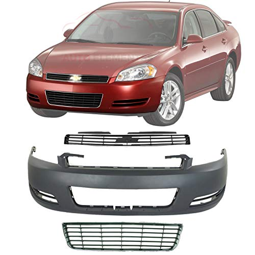 New Front Bumper Cover Primed Without Fog Light Holes + Upper & Lower Grille For 2006-2011 Chevrolet Impala Direct Replacement 89025047 10333709 10333711