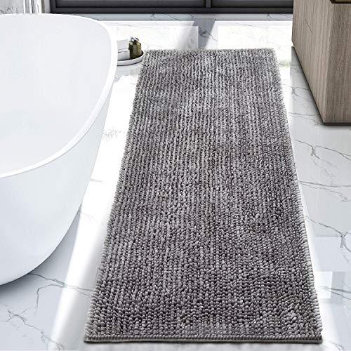 LOCHAS Luxury Bathroom Rug Runner Non Slip Chenille Bath Rugs 24x60 Inch, Super Soft and Comfy Carpets, Plush Shaggy Absorbent Bath Mat Runners for Bathroom, Machine Washable, Light Gray