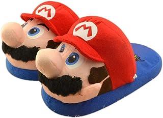 Chaussures Super Mario Pantoufles en Peluche Mario Luigi Cartoon Indoor Home Warm Shoes