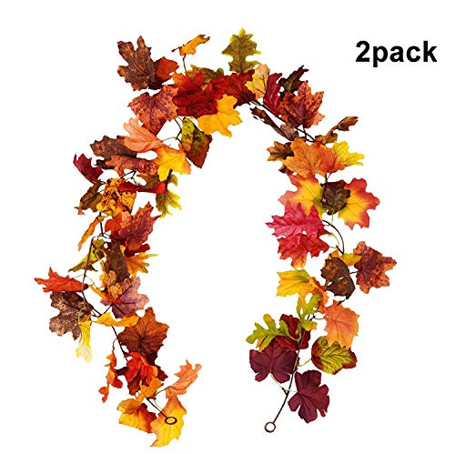 2 guirnaldas de hojas de arce artificiales de otoño para colgar en el hogar, jardín, pared, puerta, chimenea, decoración de bodas, fiestas de Halloween y Acción de Gracias (hoja de arce) Maple Leaf