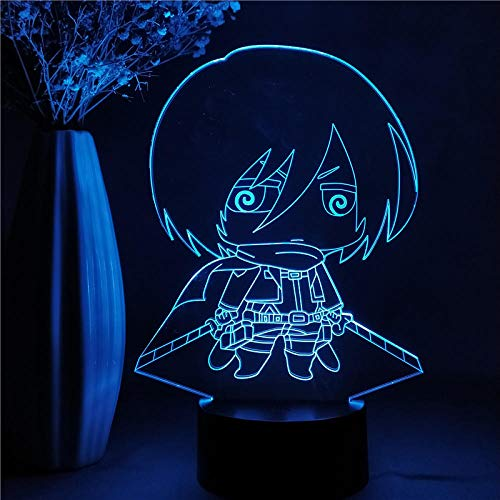 3D Anime Nachtlicht Attack On Titan Kinder Geschenk Home Schlafzimmer Dekor Mikasa Ackerman Figur LED Manga Figur Tischlampe Fernbedienung