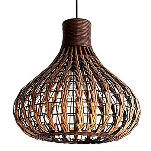 Alvyu Moderne rotan kroonluchter, natuurlijke bamboe restaurant cafe kroonluchter, handgeweven ronde nest hanglamp, creatieve rieten rotan lampenkap