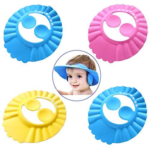 4 Stück Baby Shampoo Cap,Baby Shampoo Schutz,Shampoo Schutz für Kinder,Haar waschen ohne Tränen,Shampooaugenschutz,Einstellbare Baby Duschhaube