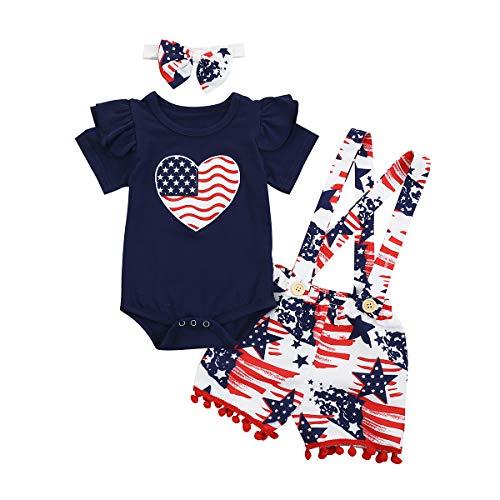 Camidy Kleinkind Baby Mädchen Amerikanische Flagge Rüschen Strampler + Hosenträger Kurze Hose + Stirnband 3 Stück Overalls Outfit-Set
