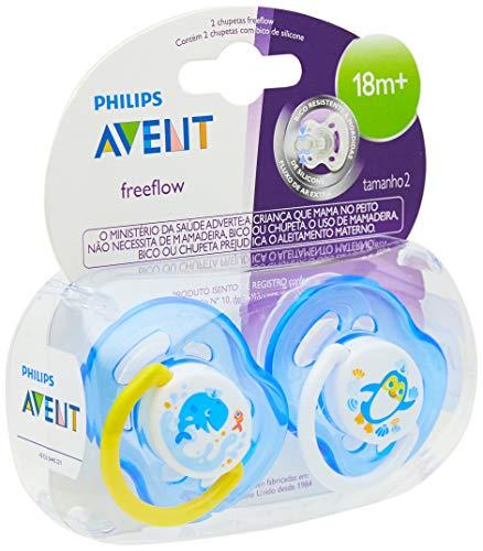 Chupeta Freeflow Decorada 18 Meses ou Mais Dupla, Philips Avent, Azul