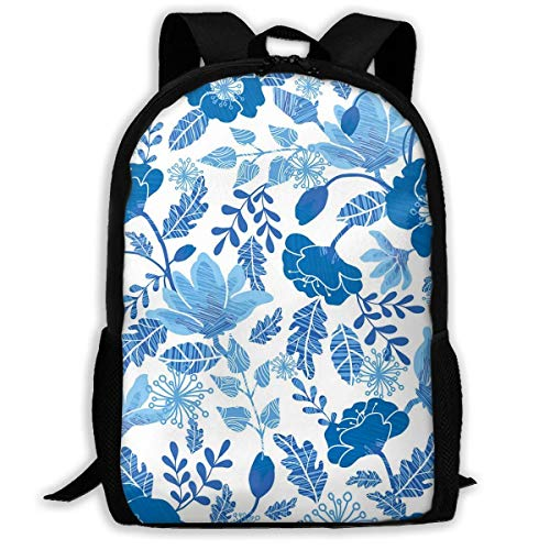 Mochilas Escolares Flores De Primavera con Textura Azul Marino Y Azul Vaquero Bolso De Escuela Moderna Mochila para Viaje Estampado Mochila Tipo Casual por Niños Y Niñas