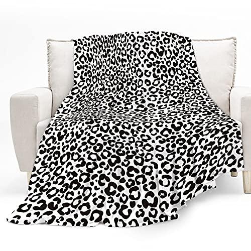 Mantas de Franela, Mantas Leopardo, Mantas Para Sofa, 130x150cm Súper Suaves Esponjosas para El Sofá Cama Colcha de Microfibra Para niños y adultos