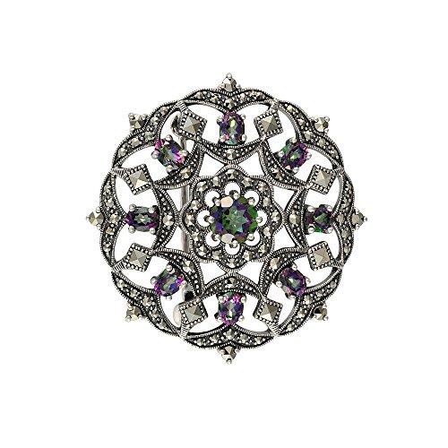 Esse Marcasite Damen-Accessoires 925 Sterling-Silber Silber Rundschliff Topaze - Marcasite
