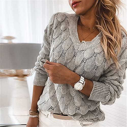Damskie swetry V Neck Knitting Casual Swetry z długim rękawem Przyczynowy sweter Luźne dzianinowe bluzki (Color : GRAY, Size : Medium)