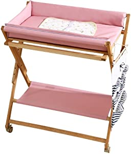 LNDDP Baby Changing Table Pink Care Station Wheels  Wooden Nursery Diaper Organizer for Small Space  Table Height Adjustable  Color Pink