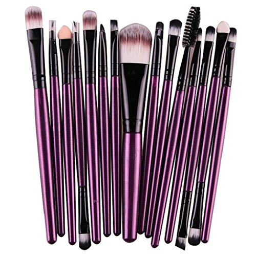 Euone 15 pcs/Sets Eye Shadow Foundation Eyebrow Lip Brush Makeup Brushes Tool (Purple)