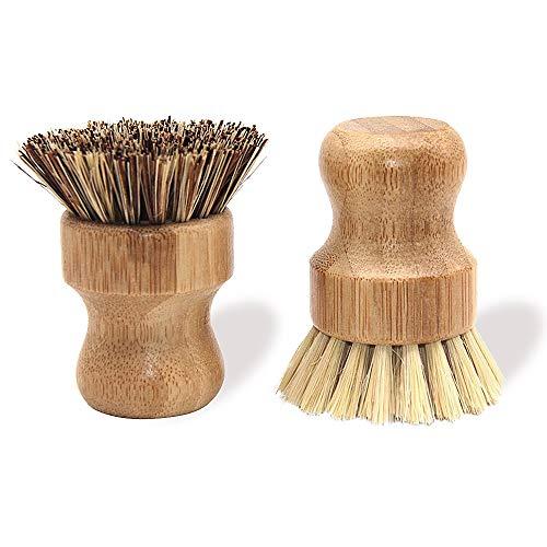 Natural Bamboo Dish Scrub Brush 2 Piece Set - Made from 100% Natural Bamboo -Natural Bristle - Plastic Free Dishes Scrub Brush for Dishes, Pot, Pans.