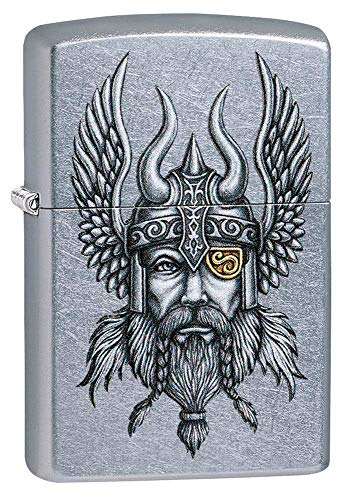 Zippo Viking Warrior Design Street Chrome Pocket Lighter One Size 29871