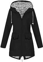 Kulywon Women Solid Rain Jacket Outdoor Plus Size Waterproof Hooded Windproof Loose Coat