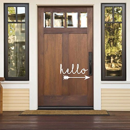 Front Door Decal - Hello With Arrow Design - Living Room, Home Decor or Porch Decoration