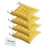 4 cojines para silla de comedor con lazos, 40 x 40 cm, cojín para silla de jardín, oficina, cojín para asiento de salón (amarillo)