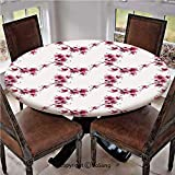 """Elastic Edged Polyester Fitted Table Cover,Watercolors Petal Flower Oriental Style Ethnic Native Floral Pattern with Twigs Artful Work,Fits up 40""""-44"""" Diameter Tables,The Ultimate Protection for Your"""