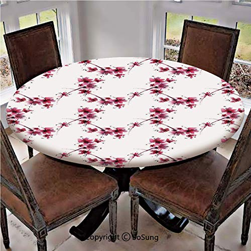"Elastic Edged Polyester Fitted Table Cover,Watercolors Petal Flower Oriental Style Ethnic Native Floral Pattern with Twigs Artful Work,Fits up 40""-44"" Diameter Tables,The Ultimate Protection for Your"