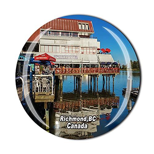Canadá 3D Richmond, BC Imán para nevera de recuerdo de cristal de cristal de recuerdo de viaje colección de recuerdos de regalo para el hogar y la cocina