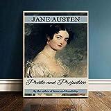 NVRENHUA El retrato de Jane Austen Vintage carteles e impresiones lienzo arte pintura cuadros de pared para decoración de habitación sin marco 40 cm x 60 cm