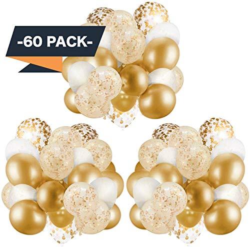 APERIL 60 Stück Latex Luftballons, Gold Konfetti Luftballons/Bänder | Metallisch Golden Luftballons | Weiße und Gold Konfetti Luftballons für Geburtstag, Hochzeit, Babyparty, Dekoration (BJJ)