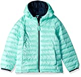 Amazon Essentials Girl's Lightweight Water-Resistant Packable Hooded Puffer Jacket, Aqua Splash with Navy Contrast, Small
