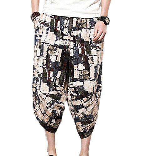 keephen Elastische Taille der Männer beiläufige Leinenhosen, Mode Harem Shorts Thailand Beach Shorts