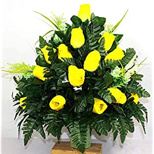 XL Yellow Roses Artificial Silk Flower Cemetery Bouquet Vase Arrangement
