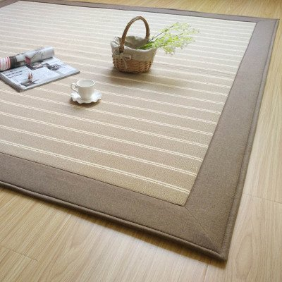 GRENSS Japanische einfache Baumwolle Teppiche Gestreift weichen Teppich Wohnzimmer Schlafzimmer Matten, Anti-Skid Flauschige Decke, Licht und Dunkel, Grau, 1800mm X 1800mm