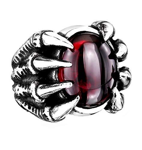 HIJONES Retro Gótico Garra de Dragón Anillo de Piedras Preciosas para Hombre Acero Inoxidable con Cristal Oval Ciclista Caballero Rojo Tamaño 26