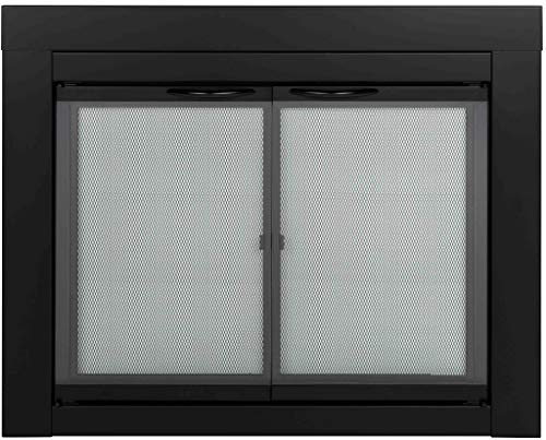 Pleasant Hearth AN-1011 Black Alpine Medium Cabinet-Style Fireplace Doors with Clear Tempered Glass