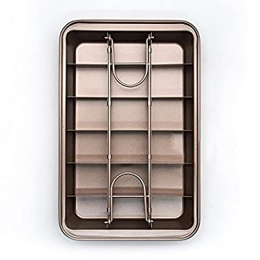Non Stick Brownie Pans with Dividers, Diveded Brownie Pan All Edges, 8 inch by 12 inch