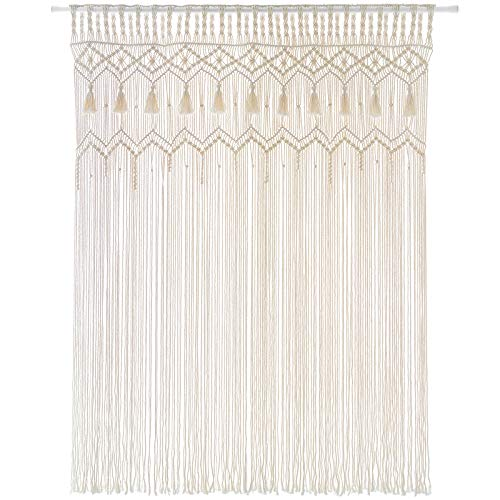 Mkono Macrame Wall Hanging Curtain Large Woven Window Curtains Handmade Boho Home Decor for Bedroom Window Door Wedding Backdrop Arch Apartment, 52''W x 71''L