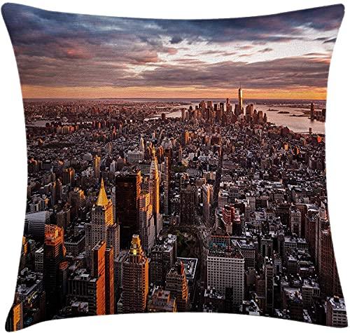 USA Throw Pillow Cojín, Vista aérea del Horizonte de Manhattan al Atardecer, Famoso Distrito financiero de la Ciudad de Nueva York, Funda de Almohada Decorativa Cuadrada Decorativa, 45x45 Blanco