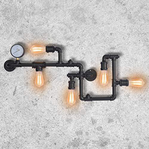 Industrial Lámparas de pared Vintage Luces de pared Lámpara de montaje Tubo de agua Apliques de pared 5 casquillos E27 para Interior Salón Pub Cafe Hotel (Negro)