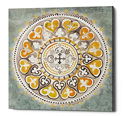 "Epic Graffiti ""Mandala Delight IV Yellow Grey III by Danhui NAI, Giclee Canvas Wall Art"