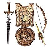 Lvbeis Kind Ritter Rüstung Ritterkostüm-Pfeil und Bogen,Schwert,Schild,Brustplatte Kinder Krieger...