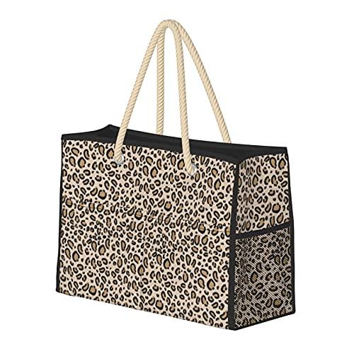Borse da spiaggia per le donne stampa leopardo classico ghepardo stampa animale grande spiaggia Tote borsa da viaggio borsa di stoccaggio weekender borsa borsa a tracolla per spiaggia viaggi palestra