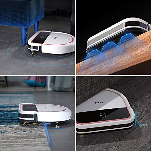 Dibea Saugroboter mit Wischfuntion Staubsauger Roboter Saugen Wischen Gleichzeitig 3 Saugstufen 110 Minuten 7.5 cm Flach Hartböden Automatische Aufladung D500 Pro Weiß - 3