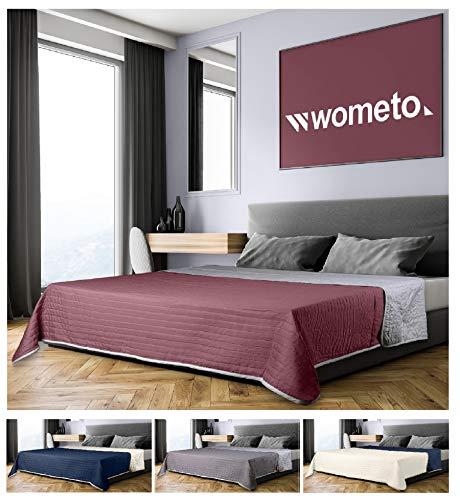 wometo Tagesdecke 220x240 cm OekoTex - Microfaser-Bezug rot grau wattiert gesteppt Wende-Design XXL Sofa Couch Bett Bettüberwurf