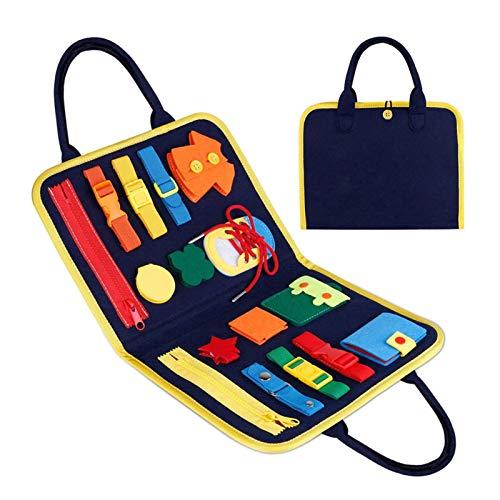knowledgi Busy Board para Niños,Juguetes de Bebé Habilidades de Vida básicas Tablero,Juguetes Sensoriales Montessori para Bebés,Juguete de Educación Temprana Juguete de Aprendizaje Regalo para Niños
