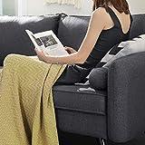 VASAGLE Sofa 3 Sitzer, Couch mit Bezug aus Leinenimitat, 180 x 82 x 83 cm, Polstermöbel für kleine Wohnungen, Gästezimmer, Jugendzimmer, mit Holzgestell, einfacher Aufbau, grau, LCS10GY - 9