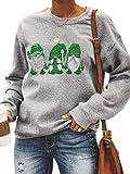 Tekaopuer Sudadera informal con capucha de cuello redondo con estampado de dibujos animados para mujer, verde, S