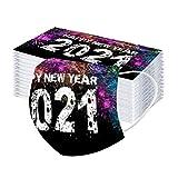 Bumplebee 50 Stück Damen Herren Mundschutz mit Motiv 2021 Neujahr Deko Bunt MNS Mund und Nasenschutz Feuerwerk Druck Maske Tücher Atmungsaktiv Mund-Tuch Bandana Halstuch