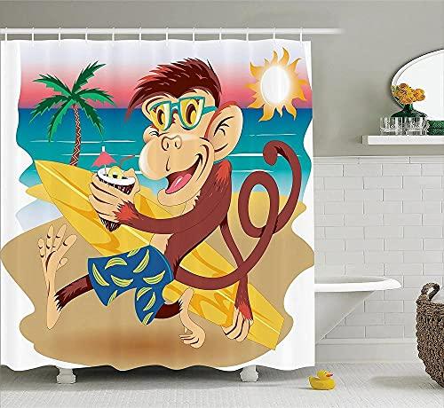 Cortina de Ducha de Animales Hipster Monkey con su Tabla de Surf y Gafas Bebiendo en la Playa de Arena en día Soleado Cortina de baño temática para niños-90x180cm