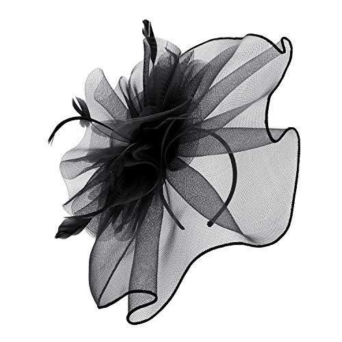 Fascinator Hut Mesh Blumen Stirnband Tea Party Kirche Haarspange Mädchen Frauen Haarklammer Tanzparty Bankett Haarreif Schleier Hochzeit Braut Haarschmuck Kopfschmuck Vintage Hair Clip